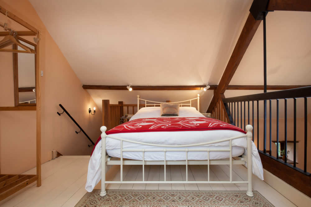 Mezzanine with comfortable double bed